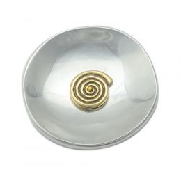 Decorative Metal Plate, Spiral Design - Handmade Solid Aluminum & Brass, Silver & Gold Color, Diam: 13cm