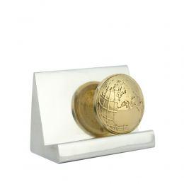 """Desk Accessories Set of 2 - """"Globe"""" Design. Handmade of Solid Metal, Letter Opener, Business Card Holder"""