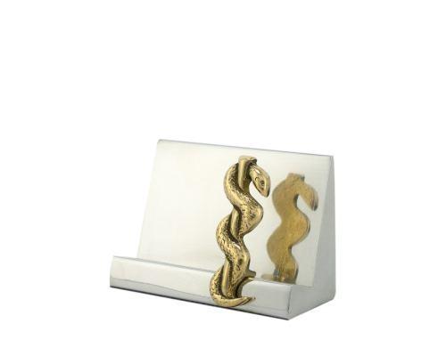 """Desk Accessories Set of 2 - """"Rod of Asclepius"""" Design, Symbol of Medicine. Handmade of Solid Metal, Letter Opener & Business Card Holder"""