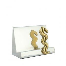 Σετ Γραφειου 3 τεμ. - Κηρύκειο του Ασκληπιού (Σύμβολο Ιατρικής) Καρτοθήκη, Χαρτοκόπτης, Πρες Παπιέ