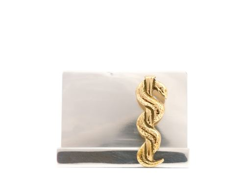 Σετ Γραφειου 4 τεμ. - Κηρύκειο του Ασκληπιού (Σύμβολο Ιατρικής) Καρτοθήκη, Χαρτοκόπτης, Πρες Παπιέ, Μολυβοθήκη
