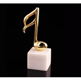 "Music Note Symbol, Table Sculpture - Solid Brass on White Marble - Handmade Decor Creation - 18cm (7"")"
