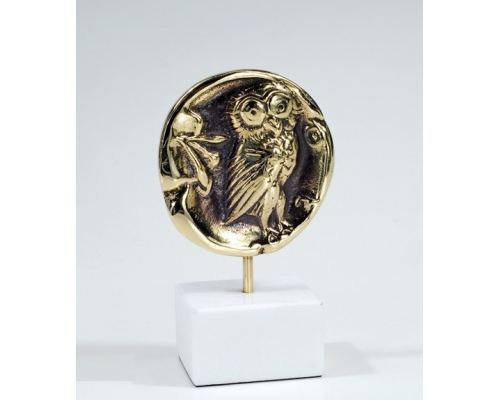 "Owl of Minerva - Greek Athena Owl, Table Sculpture - Solid Brass on White Marble - Handmade Decor Creation - 11.5cm (4.53"")"
