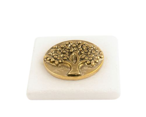 """Paperweight (Presse Papier) - Handmade of Solid Brass Metal on White Marble, Desk Accessory - """"Tree of Life"""" Design"""