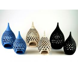 Modern Ceramic Tealight Candle Lantern, Design B - 3 Colors