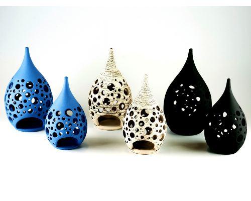 Set of 2 Modern Ceramic Tealight Candle Lanterns, Design C - 3 Colors