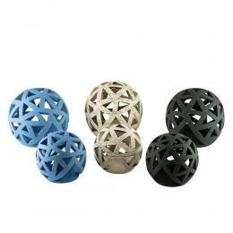 Set of 2 Modern Ceramic Tealight Candle Lanterns, Sphere Design - 3 colors
