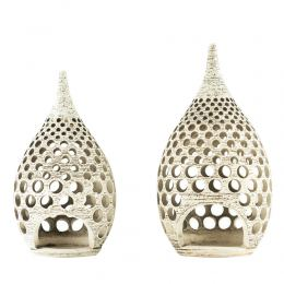 Set of 2 Modern Ceramic Tealight Candle Lanterns, Beige Color, Large & Small, Design B