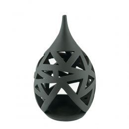 Set of 2 Modern Ceramic Tealight Candle Lanterns, Black Color, Large & Small, Design A