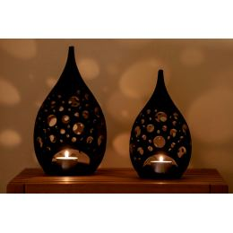 Set of 2 Modern Ceramic Tealight Candle Lanterns, Black Color, Large & Small, Design C