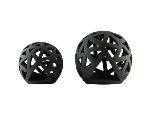 Set of 2 Modern Ceramic Tealight Candle Lanterns, Black Color, Large & Small, Sphere Design