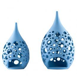 Set of 2 Modern Ceramic Tealight Candle Lanterns, Blue Color, Large & Small, Design C