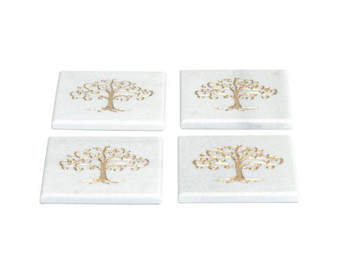 White Marble, Handmade Drink Serving Coasters Set of 4, Engraved Golden Tree of Life Design, 10Χ10cm