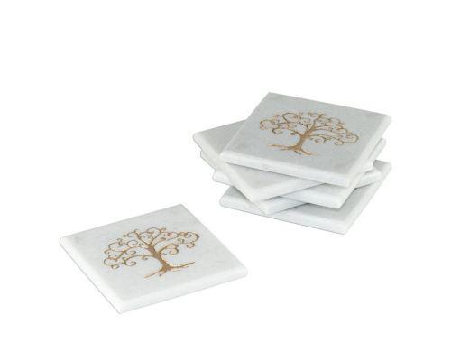 Σετ 6 Σουβέρ από λευκό μάρμαρο με χαραγμένο χρυσό σχέδιο, Δέντρο της Ζωής