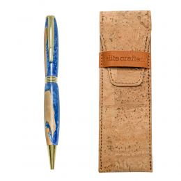 "Ballpoint Pen, Handmade of Olive Wood & Blue Color Epoxy Resin, ""Hermes"" Design"