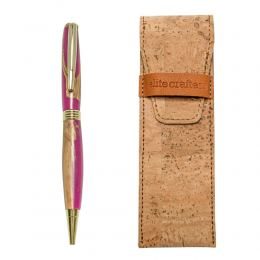 "Ballpoint Pen, Handmade of Olive Wood & Pink Color Epoxy Resin, ""Hermes"" Design"