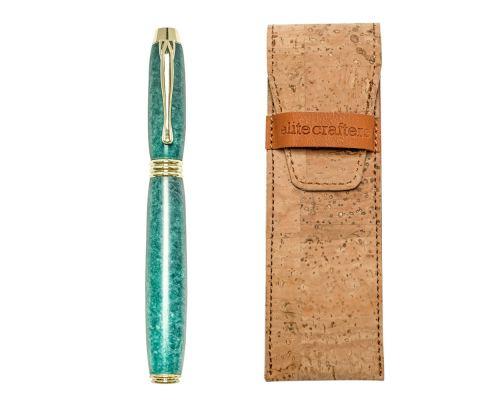 """Fountain Pen, Handmade of Green Color Epoxy Resin, """"Lexis"""" Design"""