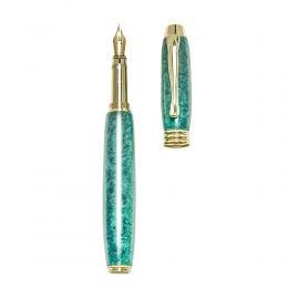 """Fountain Pen, Handmade of Green Color Epoxy Resin, """"Lexis"""" Design, 2"""