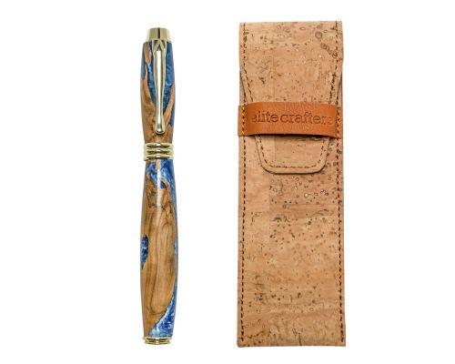 """Πένα Γραφής, Χειροποίητη από Ξύλο Ελιάς & Μπλέ Ρητίνη - Σειρά """"Lexis"""""""