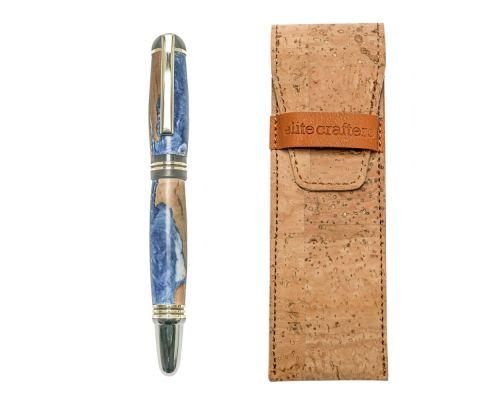 """Πένα Γραφής, Χειροποίητη από Ξύλο Ελιάς & Μπλέ Ρητίνη - Σειρά """"Praxis"""""""