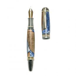 """Πένα Γραφής, Χειροποίητη από Ξύλο Ελιάς & Μπλέ Ρητίνη - Σειρά """"Praxis"""", 2"""