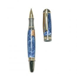 """Στυλό Διαρκείας, Χειροποίητο από Ξύλο Ελιάς & Μπλέ Ρητίνη, Σειρά """"Praxis"""", 2"""