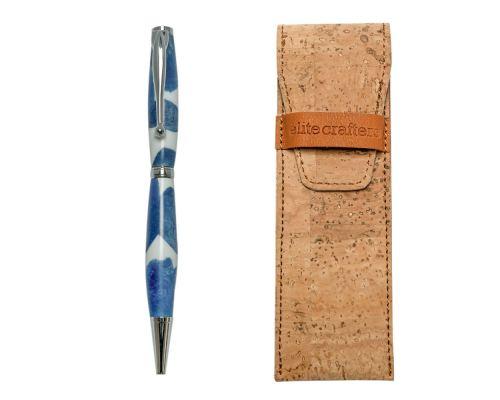 "Ballpoint Pen, Handmade of White Corian & Blue Epoxy Resin, ""Venus"" Design"