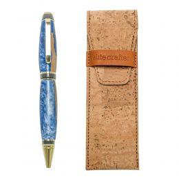 """Στυλό Διαρκείας, Χειροποίητο από Ξύλο Ελιάς & Μπλέ Ρητίνη, Σειρά """"Zeus"""""""
