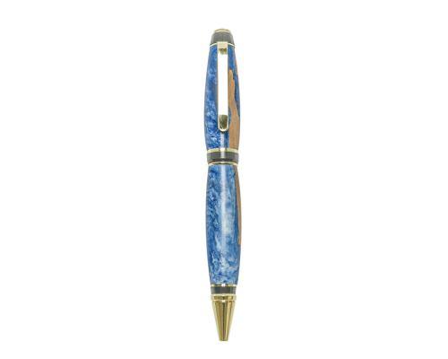 """Στυλό Διαρκείας, Χειροποίητο από Ξύλο Ελιάς & Μπλέ Ρητίνη, Σειρά """"Zeus"""", 3"""