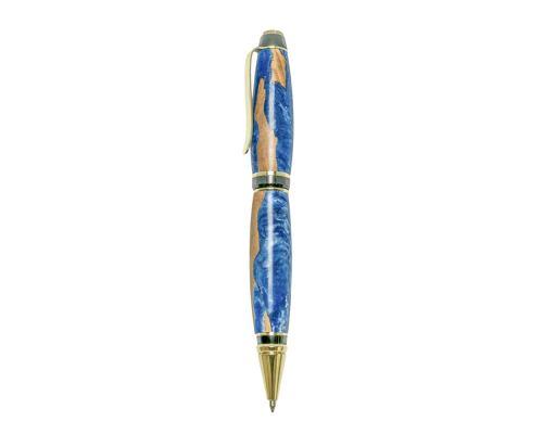 """Στυλό Διαρκείας, Χειροποίητο από Ξύλο Ελιάς & Μπλέ Ρητίνη, Σειρά """"Zeus"""", 2"""
