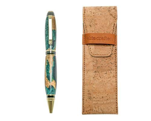 "Ballpoint Pen, Handmade of Olive Wood & Green Color Epoxy Resin, ""Zeus"" Design"
