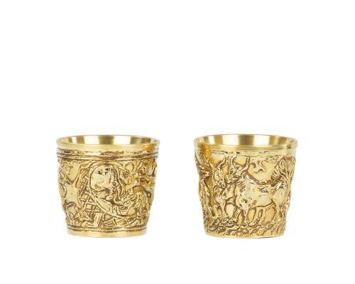 "Ancient Greek Cup. Handmade of Gold Plated Copper - ""Vapheio Lakonias"" 15 Century B.C. Museum Copy - Wild Animals Design. Large Size"