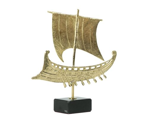 Μεταλλικό Γλυπτό Διακοσμητικό - Τριήρης, Μαύρη Μαρμάρινη Βάση (26cm)
