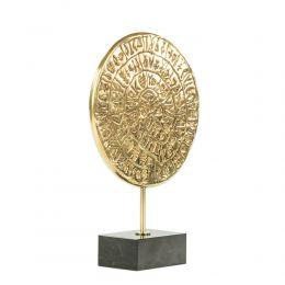 Μεταλλικό Γλυπτό Διακοσμητικό - Δίσκος της Φαιστού, Βάση Μαύρο Μάρμαρο (22cm)