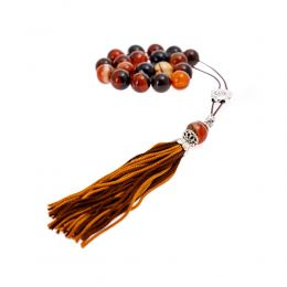 Multicolor Agate Gemstone, Handmade Greek Worry Beads or Komboloi, Alpaca Metal Parts on a Pure Silk Cord & Tassel