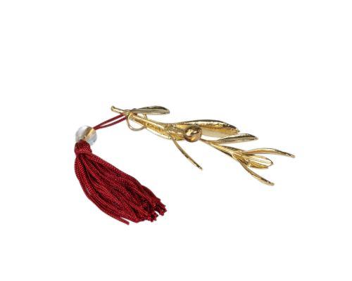 Κλαδί Ελιάς Επίχρυσο 24Κ, Γούρι με Κόκκινη Φούντα