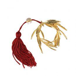 Στεφάνι Ελιάς Επίχρυσο 24Κ, Γούρι με Κόκκινη Φούντα