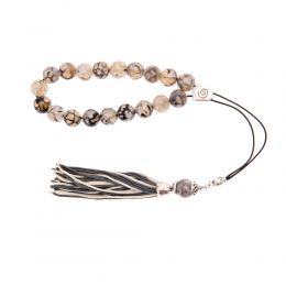 Grey & Clear Agate Gemstone, Handmade Greek Worry Beads or Komboloi, Alpaca Metal Parts on a Pure Silk Cord & Tassel