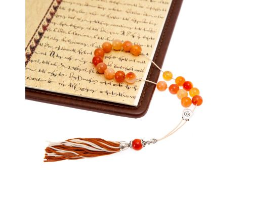 Orange Agate Gemstone, Handmade Greek Worry Beads or Komboloi, Alpaca Metal Parts on a Pure Silk Cord & Tassel