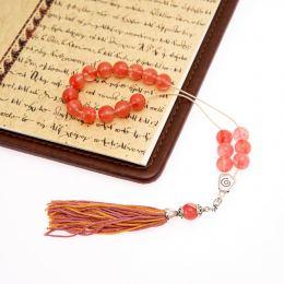 Pink Quartz Gemstone, Handmade Greek Worry Beads or Komboloi, Alpaca Metal Parts on a Pure Silk Cord & Tassel