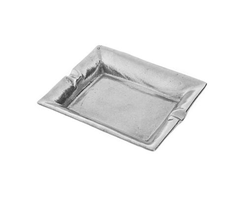 Ashtray - Handmade Solid Aluminum - Rectangular - Silver