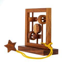 """Moon & Star"" Brain Teaser Game - Handmade Wooden Mind Puzzle"