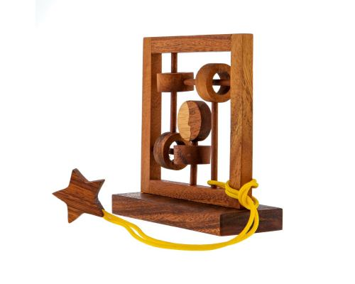"""Moon & Star"" Brain Teaser Game - Handmade Wooden Mind Puzzle"
