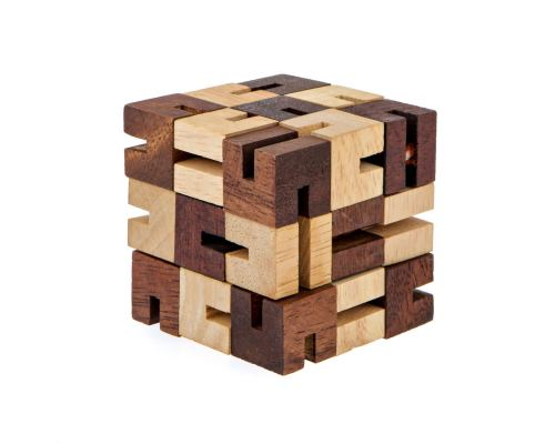 """The Snake"" Brain Teaser Game - Handmade Wooden Cube Mind Puzzle"