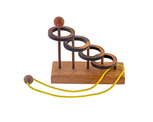 """Through the Hoop"" Brain Teaser Game - Handmade Wooden Mind Puzzle"