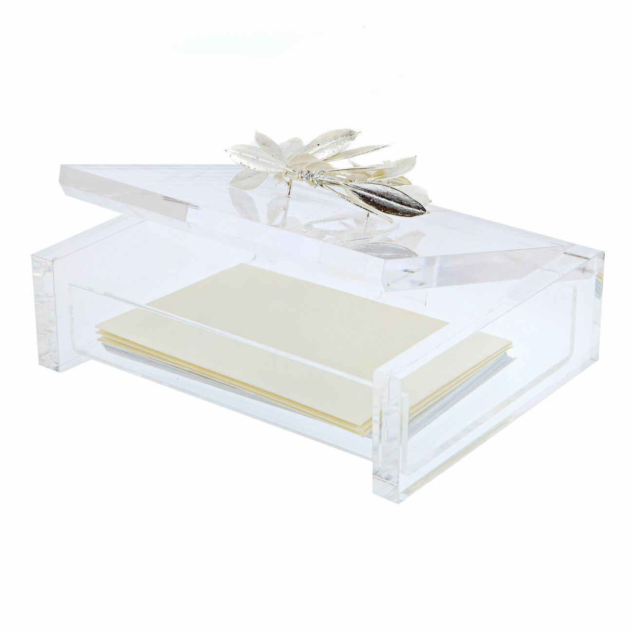 Business Card Box or Holder with Real Olive Wreath 925 Sterling ...