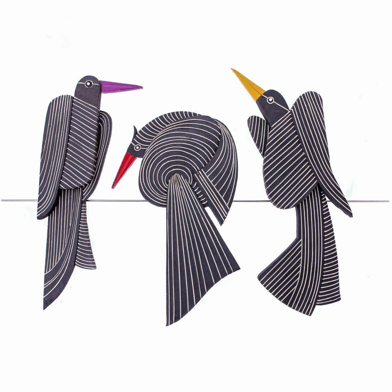 Birds on Wire, Unique Handmade Ceramic Wall Art Decor Sculpture Set ...
