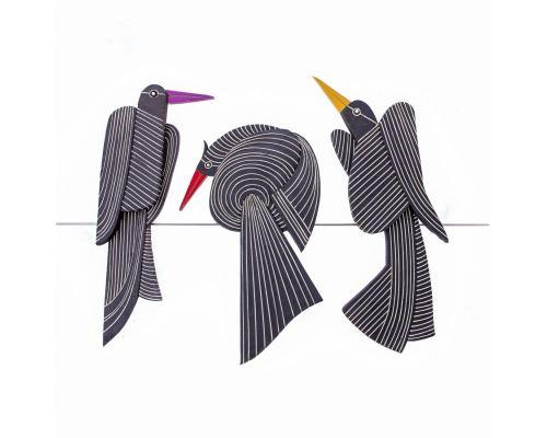 Μεγάλη Διακοσμητική Σύνθεση Τοίχου - Σετ 3 Κεραμικά Πουλιά, Μαύρο