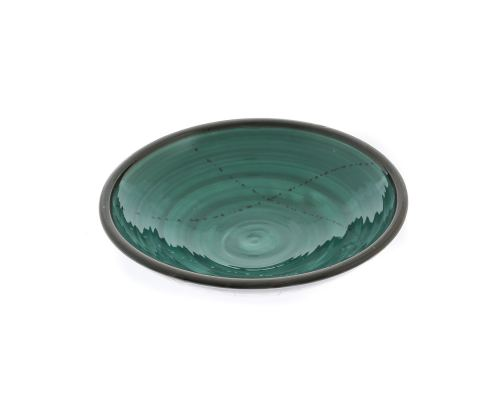 "Serving Bowl or Platter - Handmade Ceramic Centerpiece - Green 13""- 33cm"