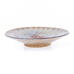 "Decorative Plate - Handmade Ceramic Table or Wall Art Decor - Textured Rim - ""Sail Boat"" Design, 36cm (14.2"")"